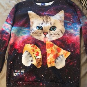 Sweaters - Galaxy Kitty eating taco and pizza sweatshirt